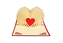 IShareCards® Papercraft Handmade 3D Pop Up Greeting Cards for Valentines,Best Gifts to Express LOVE,Heart Shaped Cards (Beige Heart)