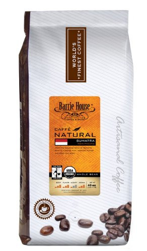 Barrie House Coffee Fair Trade Organic Caffé Natural Sumatra Coffee Whole Bean 2.5 Lb Bag