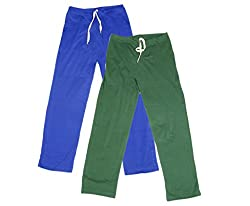 IndiWeaves Women Super Combo Pack 4 (Pack of 2 Lower/Track Pant and 2 T-Shirt)_Blue::Green::Red::Purple_M