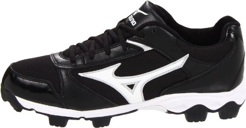 pictures of Mizuno Men's 9-Spike Franchise 6 Low Baseball Cleat,Black/White,10 M US