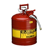 Justrite AccuFlow 7250120 Type II Galvanized Steel Safety Can with 5/8&#034; Flexible Spout, 5 Gallons Capacity, Red