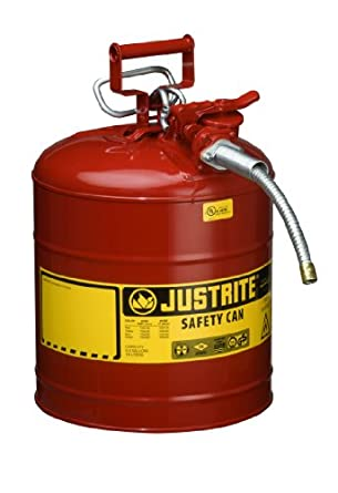 "Justrite AccuFlow 7250120 Type II Galvanized Steel Safety Can with 5/8"" Flexible Spout, 5 Gallons Capacity, Red"