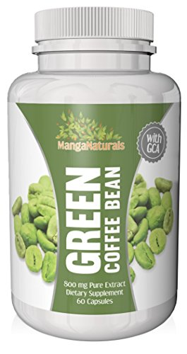 Pure Green Coffee Bean Extract 800 With Gca Natural Weight Loss Supplement As Seen On Dr. Oz, Formulated Especially For Launching Your Green Coffee Bean Diet - Premium Quality - Fully Guaranteed By Manga Naturals