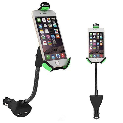 Moobom 2 in 1 KFZ-Ladegerät Mit Verstellbarer Halterung für iPhone /Handy/Tablet/Andere USB-fähige Geräte