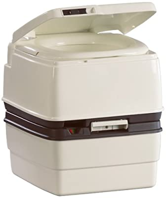 Thetford 25112 Porta Potti 365 White/Dove Brown Level Gauge and Lid Latch with Piston Pump Flush