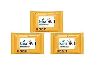 Kara Sunscreen Face Wipes - Viscose Fibre - Aloe Vera & Plum & Vitamin E (Acetate) - 25Pcs x 3