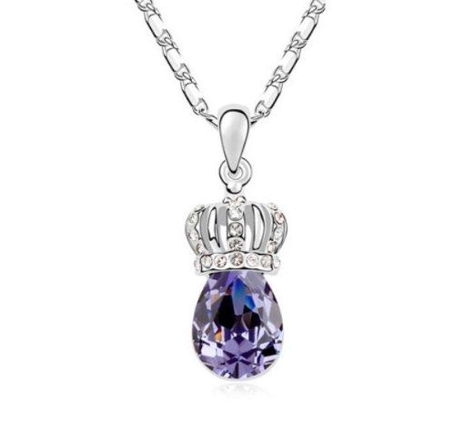Mqueen Amethyst Queen Crown Drop Pendant Necklace front-327277