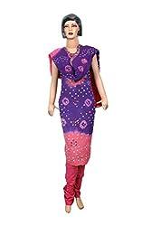 Women's Cotton Unstitched Salwar Suit Dress Material Bandhaj Work (Dress_586_FreeSize_Multicolor)