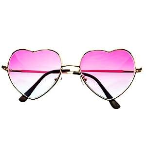 Pink Blue Yellow Lens Heart Shape Retro Fashion Metal Sunglasses Gold Frame (Pink / Light Blue Lens)