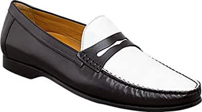 Mezlan Men's Loris Black/White Calf Penny Loafer (7 M, Black/White)