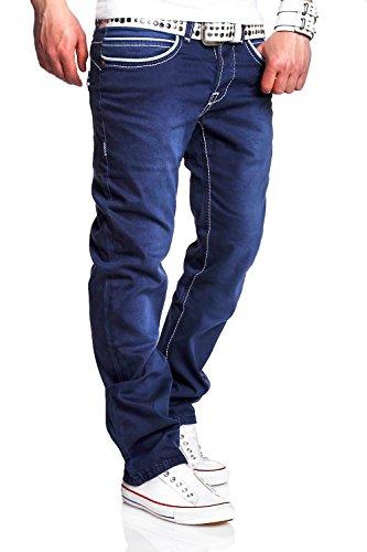 MT Styles Jeans Straight-Fit Hose RJ-119 [Dunkelblau, W32/L32]