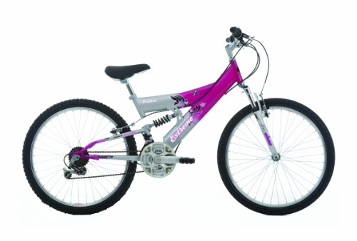 EXTREME by Raleigh Milano Girls Girls suspension bike - Silver/Pink, 24-inch Wheel, 14 Inch Frame