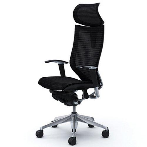 オカムラ バロン(Baron)オフィスチェア 【エクストラハイバック】 可動ヘッドレスト ポリッシュ ブラックフレーム 可動肘 座メッシュ ブラック  CP81AR-FDH1
