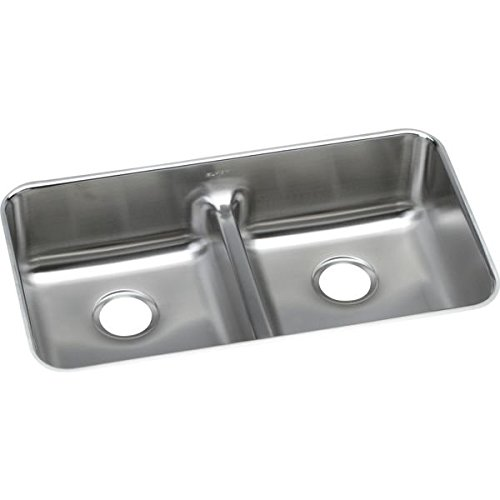 Elkay ELUHAQD3218 Gourmet 18-1/2-Inch x 32-1/16-Inch Double Basin Undermount Stainless Steel Kitchen Sink