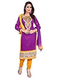 R K Exports Cotton Embroidered Semi-stitched Salwar Suit Dupatta Material
