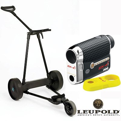 New! Emotion E3 23Lbs Pull Push Electric Motorized 3-Wheel Golf Cart Trolley + New! Leupold Gx-4I2 Gps / Rangefinder