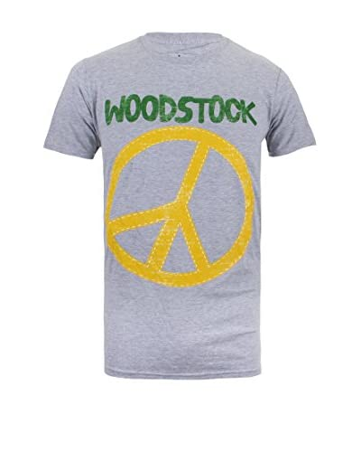 ICONIC COLLECTION - WOODSTOCK T-Shirt Stitch Peace Sign grau