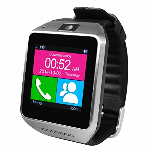 CNPGD® MultiFunction All-in-1 Watch Cell Phone & Smart Watch Sync to Android IOS Smart Phone (Silver)
