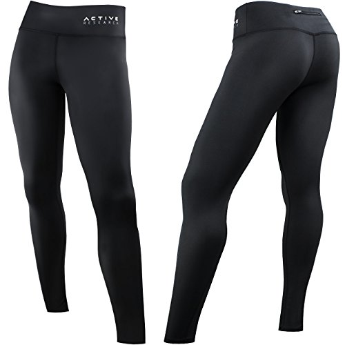 Active Research Women's Compression Pants - Leggings for Running, Yoga, Crossfit, Training and Fitness - Full-Length Athletic Tights w/ Hidden Pocket - L