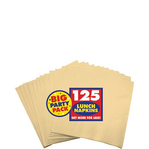 Amscan Big Party Pack 125 Count Luncheon Napkins, Vanilla Crème