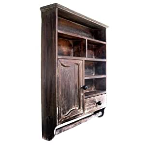 antik holz regal h ngeschrank handtuchhalter landhausstil k che haushalt. Black Bedroom Furniture Sets. Home Design Ideas