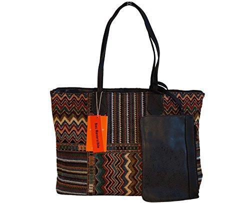 Borsa donna reversibile David Jones in ecopelle e tessuto modello shopper con bustina abbinata - nera