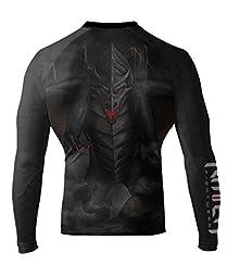 Raven Fightwear Men\'s Black Dragon Long Sleeve BJJ MMA Rash Guard Large