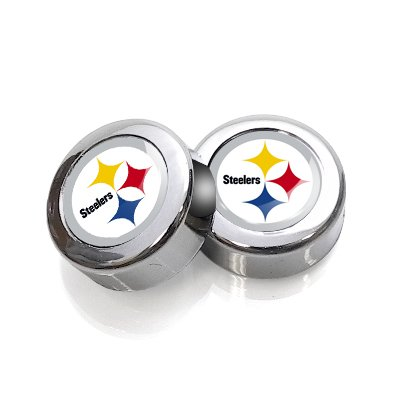 NFL Pittsburgh Steelers License Plate, Frame Chrome Screw Covers from SteelerMania
