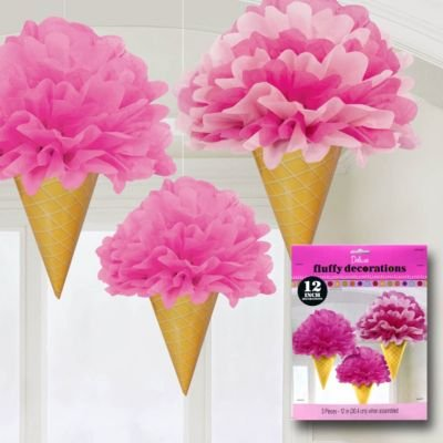 Amscan Sweet Stuff Tissue & Paper Ice Cream Fluffy Decorations, Pink/Tan, 12""