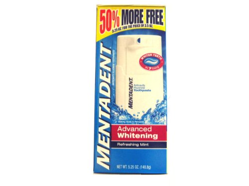 Mentadent Advanced Whitening Refreshing Mint Toothpaste with Baking Soda & Peroxide 50% More 5.25 oz/148.8g (3-Pack) incl. pump dispenser (Mentadent Dispenser compare prices)
