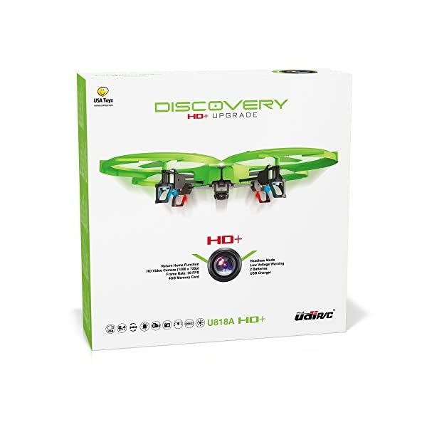 UDI-818A-HD-RC-Quadcopter-Drone-with-HD-Camera-Return-Home-Function-and-Headless-Mode-24GHz-4-CH-6-Axis-Gyro-RTF-Includes-BONUS-BATTERY-Doubles-Flying-Time