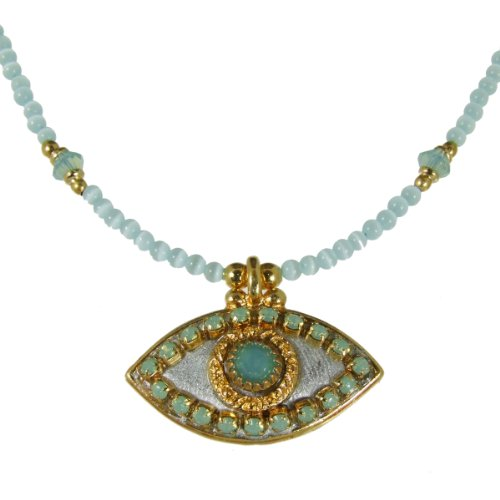 Michal Golan Jade, Gold and Silver Evil Eye Pendant and Beaded Necklace