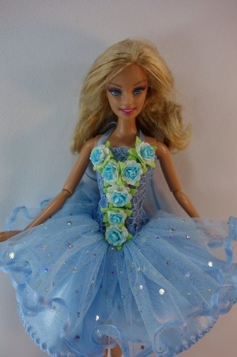 [Handmade Outfit Clothes Costume Fancy Dress Fairytopia Bellerina Fairy Angel for Barbie Doll # Blue] (Fairytopia Barbie Costume)
