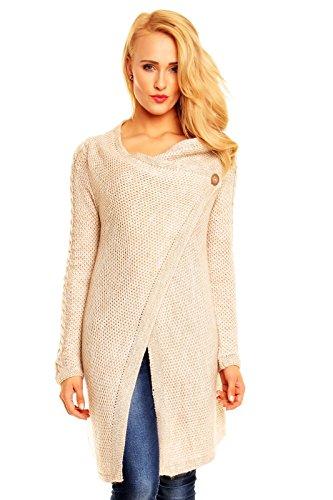 Damen Pullover Sweat Jacke Mantel Cardigan Poncho Coat Strickmantel beige 4007