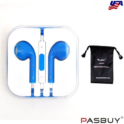 Pasbuy® 1044/Blue Headset Earphone Headphone Earbuds With Remote Mic Volume For Iphone5 5S 4S Ipad Mini Mp3+Free Mp3 Of Sling Bag For Gift (Blue)