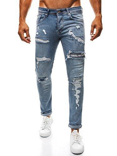 OZONEE Uomo Strappati Pantaloni Jeans Taglio Straigh Pantaloni sportivi Jeans Aderenti Jeans Skinny OTANTIK 347 - cotone, Nero, 3% spandex.\n\t\t\t\t 97% cotone 3% spandex, Uomo, 33W
