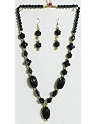 Black And Golden Bead Tibetan Necklace With Earrings - Acrylic Bead