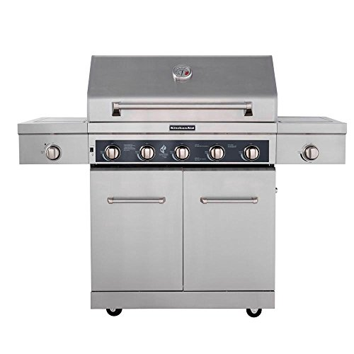 5-Burner Propane Gas Grill in Stainless Steel with LED Control Panel,Side Burner and Grill Cover solis table grill 5 in 1 раклетница