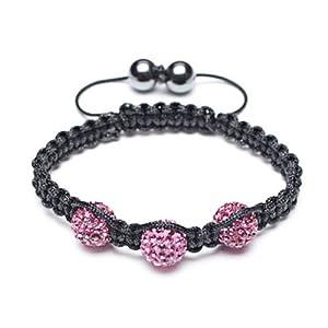 Bling Jewelry Childrens Bracelet Shamballa Inspired Pave Fuchsia Crystal Beads 10mm