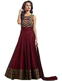 Phoenix Women's Net Dress Material (Boat Neck Red Suit_Red)