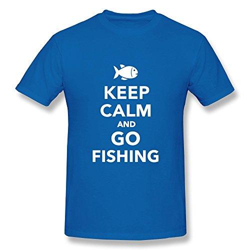 Jien Men'S Keep Calm Go Fishing T-Shirt - Royalblue Xl
