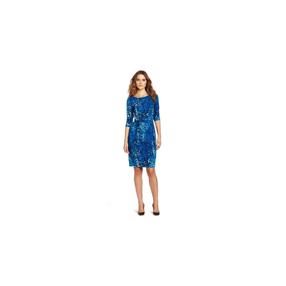 Anne Klein Womens Wrap Dress, Blue/Black, X Large