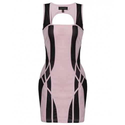 House of Dereon Panelled Dress Nude  black Nude