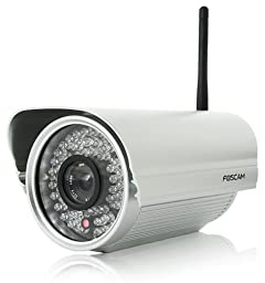 Foscam FI8905W Outdoor Wireless/Wired IP Camera with 4mm Lens (50 Viewing Angle) 100ft Nightvision - Silver