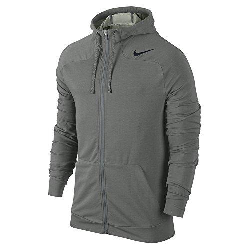 Nike Men's Dri-FIT Touch Fleece Full-Zip Training Hoodie, Tumbled Grey/Black, Medium
