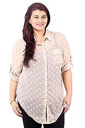 White Polka Dot Printed Beige Shirt_LISS499_20