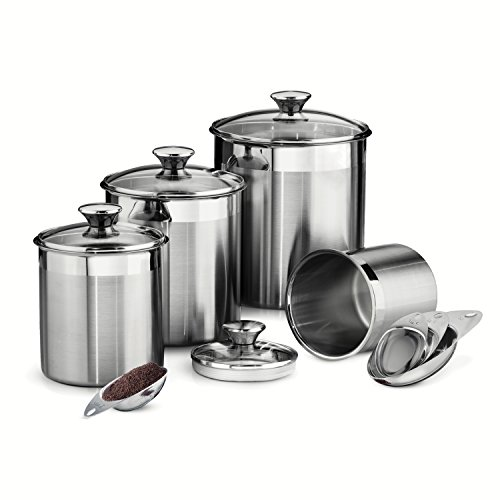 Tramontina 80204/527DS 8 Piece Canister and Scoops Set, Stainless Steel (Satin Polished Stainless Steel compare prices)