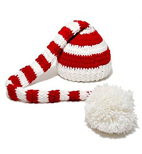 Cx-queen Christmas Baby Crochet ELF Long Tail Hat Red & White Photography Props