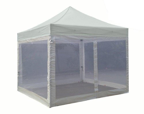 Eurmax Pro 10X10 Pop Up Wedding Canopy Tent Outdoor Gazebo With 4 Mesh Screen Walls & Bonus Roller Bag And Awning (Gray) front-985038