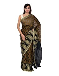 A1 Fashion Women Brasso & Net Black Saree With Blouse Piece - B00VUS16YU